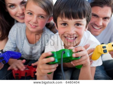 poster of Excited Family Playing Video Games