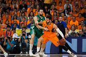 VALENCIA - MAY, 1: one-on-one with Doubljevic #14 and Vougioukas during a Eurocup Finals match betwe