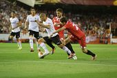 VALENCIA - MAY, 1: Feghouli drives the ball during UEFA Europe League semifinals match between Valen
