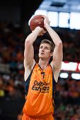 VALENCIA - MAY, 1: Foul shot of Doellman during a Eurocup Finals match between Valencia Basket Club and Unics Kazan at the Fonteta Stadium on May 1, 2014 in Valencia, Spain