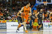VALENCIA - MAY, 3: Martinez drives the ball during a Spanish league match between Valencia Basket Cl