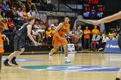 VALENCIA - MAY, 3: Van Rossom drives the ball during a Spanish league match between Valencia Basket