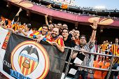 VALENCIA - MAY, 1: Valencia supporters during UEFA Europe League semifinals match between Valencia C