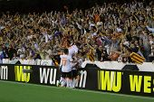 VALENCIA - MAY, 1: various Valencia players celebrate a goal during UEFA Europe League semifinals ma