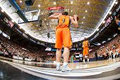 VALENCIA - MAY, 1: Van Rossom #9 throw-in during a Eurocup Finals match between Valencia Basket Club