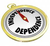 Independence and Dependence Words Gold Compass Direction Self Determination