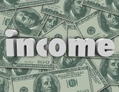Income Word Money Background Earn Cash Pay Salary