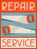 Repair service. Retro poster in flat design style.