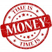 Time Is Money Red Round Grungy Vintage Isolated Rubber Stamp