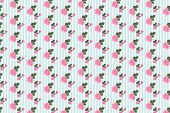 Digitally generated kitsch floral pattern wallpaper with roses