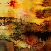 art abstract acrylic and pencil background in yellow, orange, green, brown, black and red colors