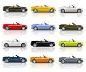 Collection of Multicolored 3D Modern Cars