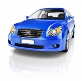 Blue Sedan 3D Car