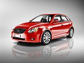 Three-Dimensional Shape Red 3D Sedan Studio Shot