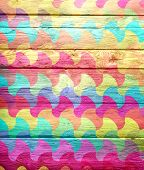 mosaic painted old wooden wall