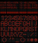 Airport schedule alphabet red diode vector template.