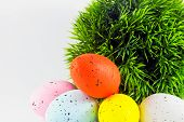 Dyed Easter Eggs With Green Decoration