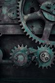 Old cog wheels gears background, closeup