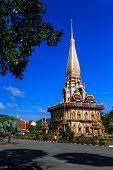 Wat Chalong Temple At Sunny Day Phuket Thailand
