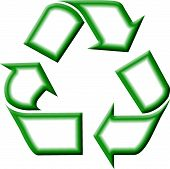 stock photo of waste reduction  - Green and white recycling symbol created in PhotoShop.