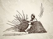Man weaves a basket of bamboo. Hand drawn illustration