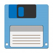 Floppy disc icon for computer data storage. Vector Illustration .