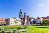 Wawel Castle On Sunny Day With Blue Sky And White Clouds