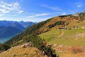 ROFAN, AUSTRIA -  OCTOBER 26 : Hiking trail in Rofan, Austria on October 26, 2013 during the Autumn season.