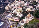Elevated view of town, Positano, Italy.