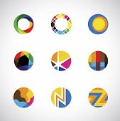 Trendy, Stylish & Colorful Abstract Circle Icons Set - Vector Graphic.