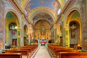 SERRALUNGA D'ALBA, ITALY - MARCH 31, 2012: Inside view of San Sebastiano church - catholic parish ch