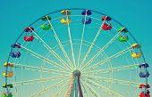 Ferris Wheel In Retro Vintage Style