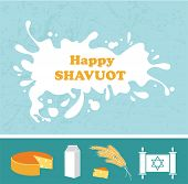 Card for Shavuot Jewish holiday with a splash of milk.