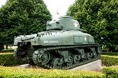 Omaha Beach, Normandy,Ferance.- August 9: Tanks in American War Cemetery on August 9, 2013. American