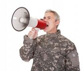 Mature Soldier Shouting Through Megaphone