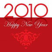 2010 Happy New Year text with ornament red