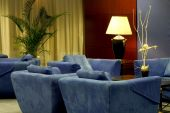 Hotel Lobby With Comfortable Blue Couches