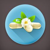 Herbal medicine, long shadow vector icon