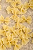Home Made Raw Farfalle On Jute