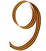 Number 9 made of St. George ribbon isolated on white