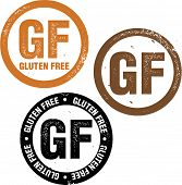 Gluten Free GF Distressed Rubber Stamp