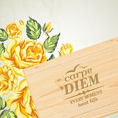 Stylish wooden plaque with the text Carpe diem.