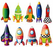Illustration of the colorful rockets on a white background