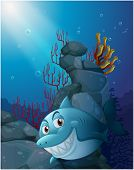 Illustration of a smiling shark under the sea near the rocks on a white background