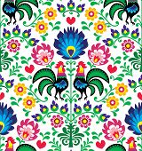 Seamless traditional floral Polish pattern with roosters - Wzory ?owickie