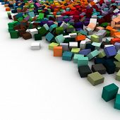 3D rendering of lots of color blocks on a white background