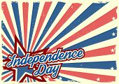 detailed illustration of a grungy stars and stripes backbround with Independence Day text, eps 10 vector