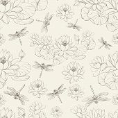 Seamless pattern lotus flower and dragonfly.