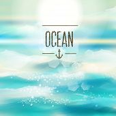 stock photo of mood  - Spring and summer watercolor ocean background with shining sparks and bokeh - JPG