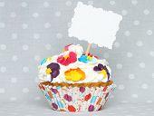 Cupcake with blank card
